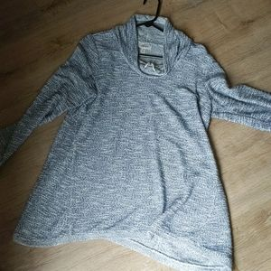 Vowel neck long tunic sweater